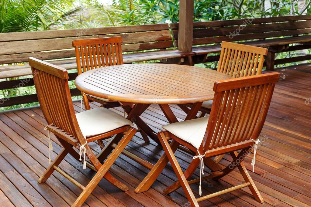 Teak Wood Furniture Stand On The Terrace Stock Photo