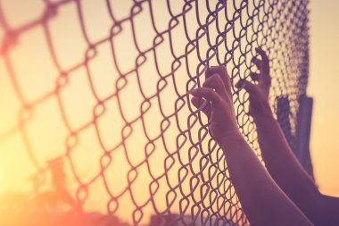 Hands holding on chain link fence