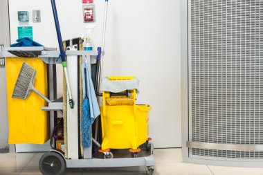 mop bucket and set of cleaning equipment