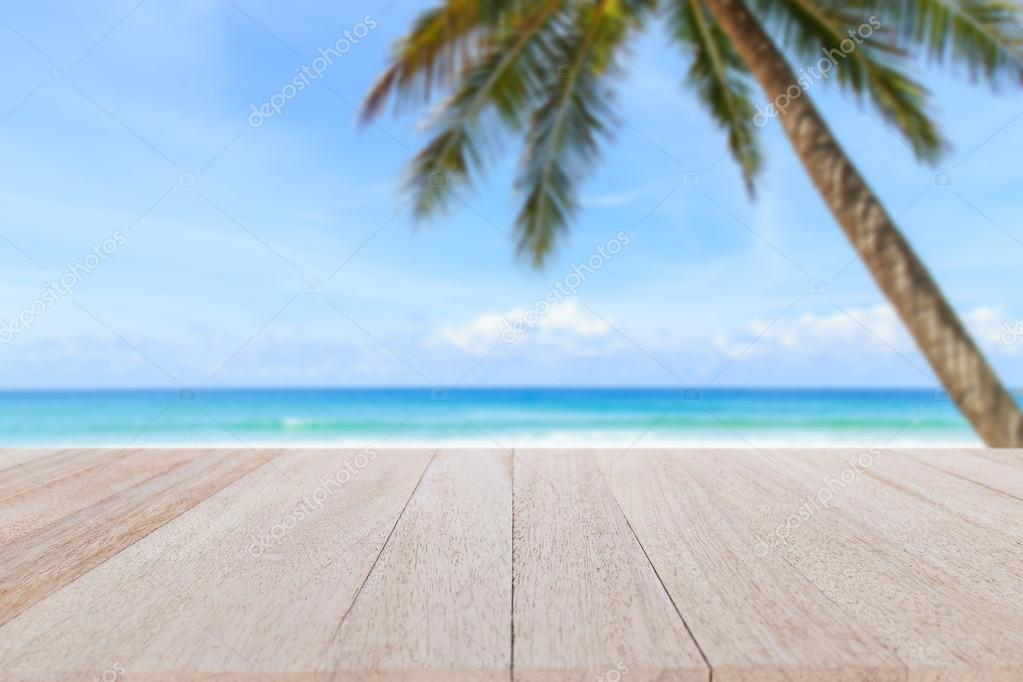 table and  tropical beach