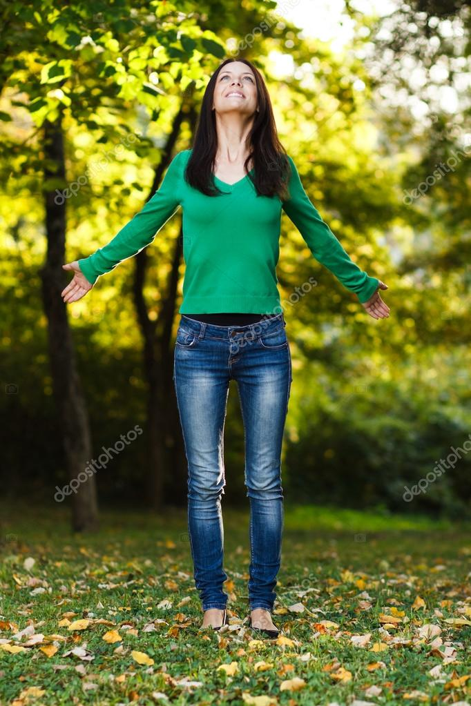 woman enjoys in nature