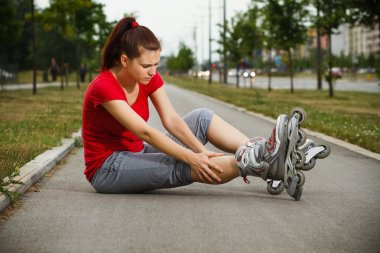 girl has sport injury