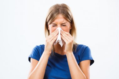 Young woman is having flu