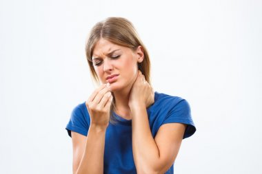 Woman is having neck pain