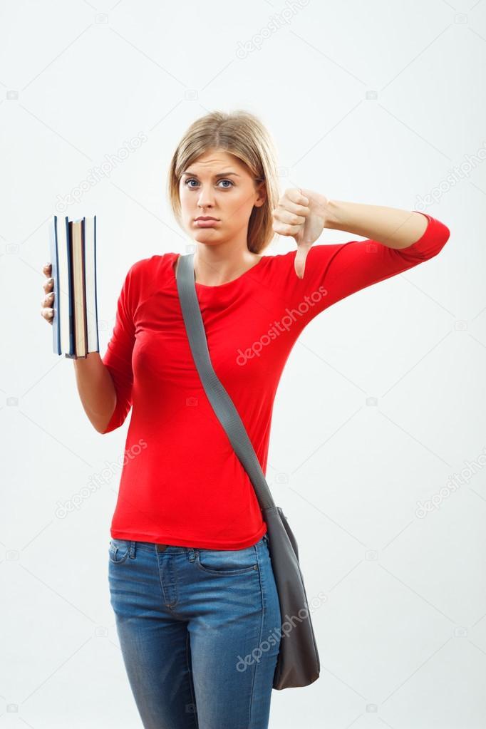 sad student girl with books