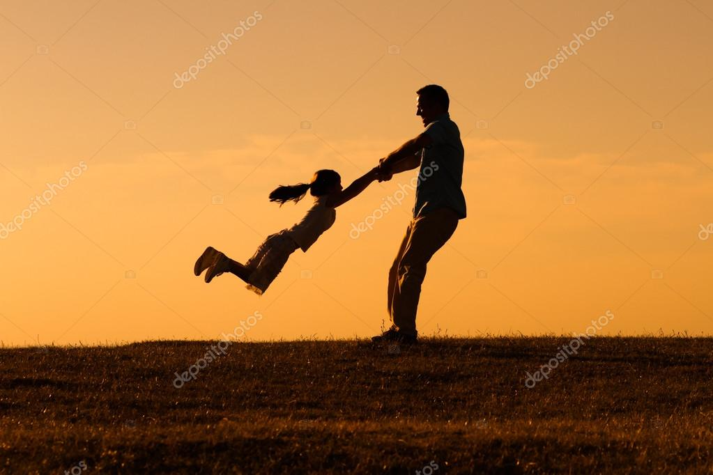 happy father with girl in nature