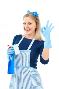 Housewife with cleaning spray