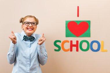 Happy student, school girl