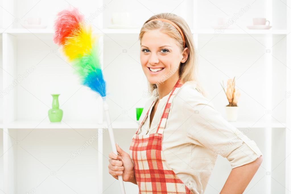 Young housewife with brush