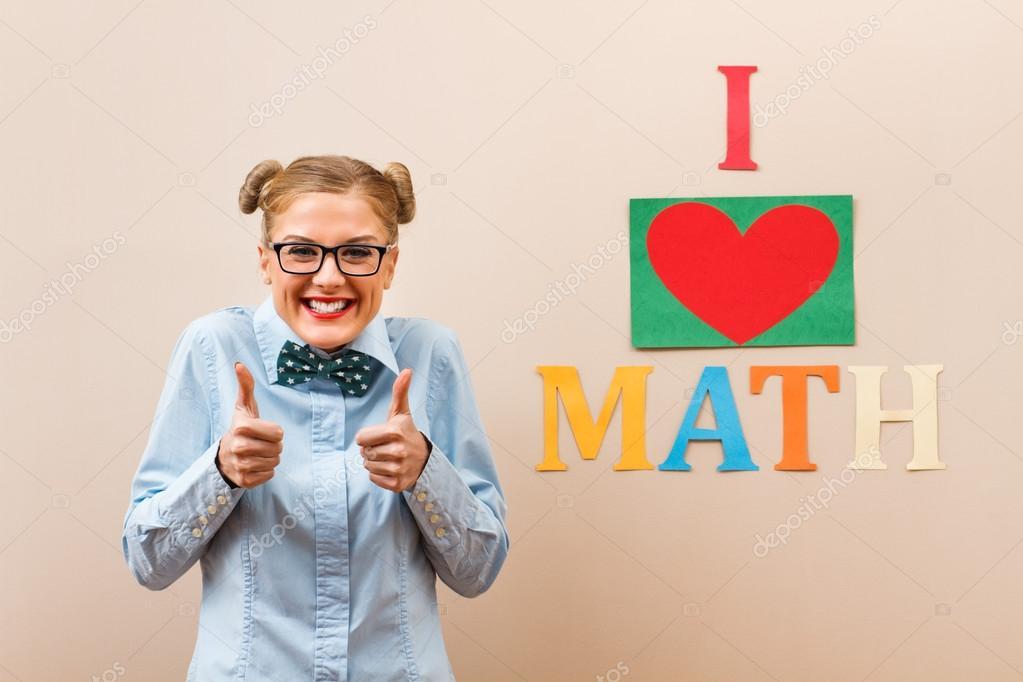 happy student girl loves math — Stock Photo © inesbazdar #85515088