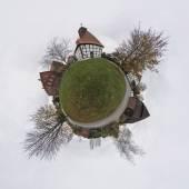 Fotografie Panoramablick auf das typische Dorf in Niedersachsen