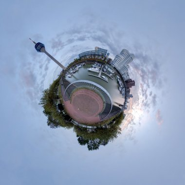 Little planet panorama of Medienhafen in Dusseldorf, Germany