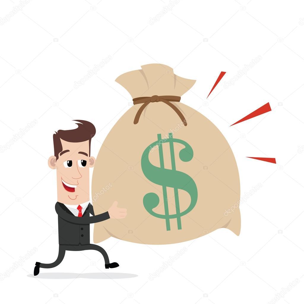 Hombre de negocios de dibujos animados con bolsa de dinero