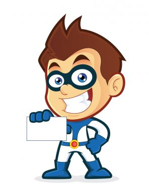 Superhero holding a blank business card