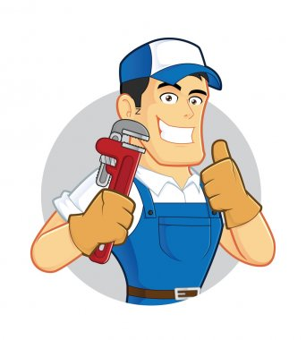 Plumber holding a pipe wrench inside circle shape