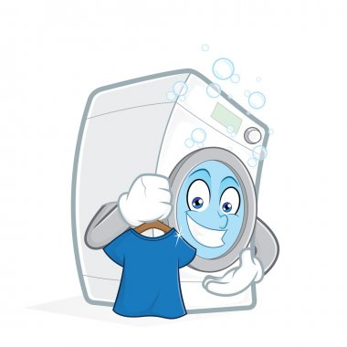 Washing machine holding clean t shirt