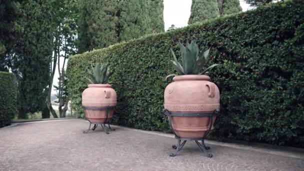 Ancient handmade clay potters with growing cactus agave on amazing Italian villa residence, vintage decorations for historic buildings exterior. Italian palace with private garden and cultivated