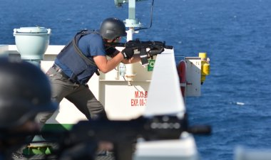 OPEN SEA / ON BOARD A SHIP / INDIAN OCEAN - JANUARY 28, 2015. Exercise of Armed Piracy Security Team on board of ship.