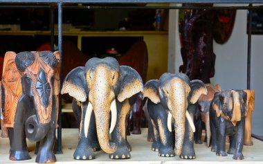 Sri Lankan traditional handcrafted goods for sale in a shop at Pinnawala elephant orphanage, Sri Lanka