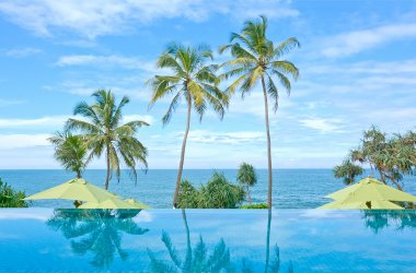 Infinity Swimming Pool In A Tropical Hotel That Located In Costal Area Negambo, Sri Lanka