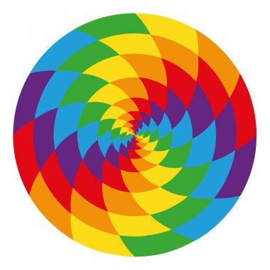 Circle of abstract psychedelic rainbow