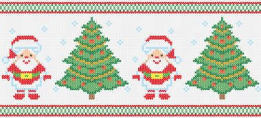 Christmas embroidery vector seamless texture