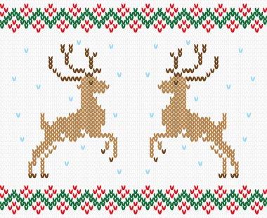 Christmas embroidery deer vector seamless texture