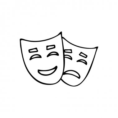 Doodle comedy and drama theater masks icon. Hand drawn comedy and drama theater mask. icon