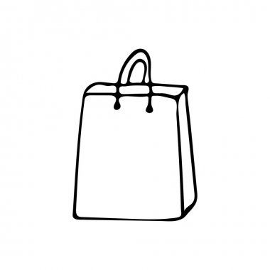 Hand drawn paper shopping bag illustration in vector on white background. Doodle shopping bag vector illustration icon