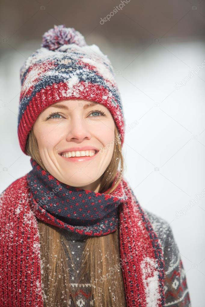 Happy winter woman portrait