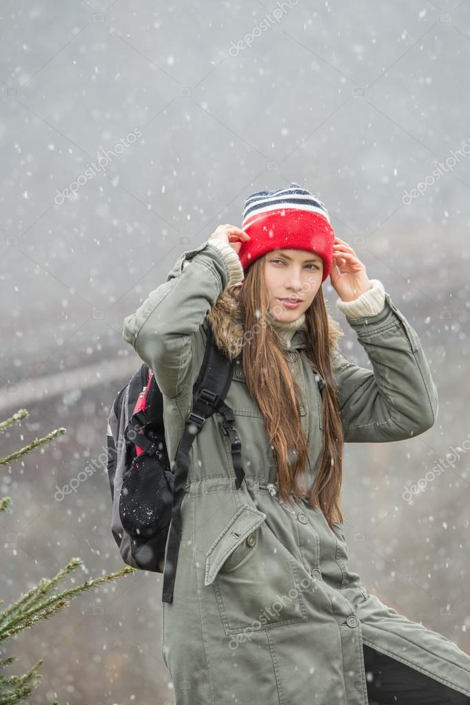 Young traveler enjoy the freshness of winter and trip