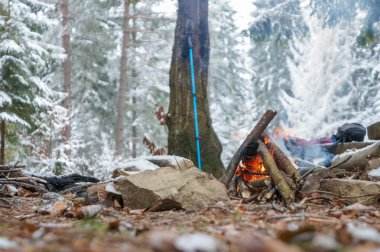 Campfire in winter forest