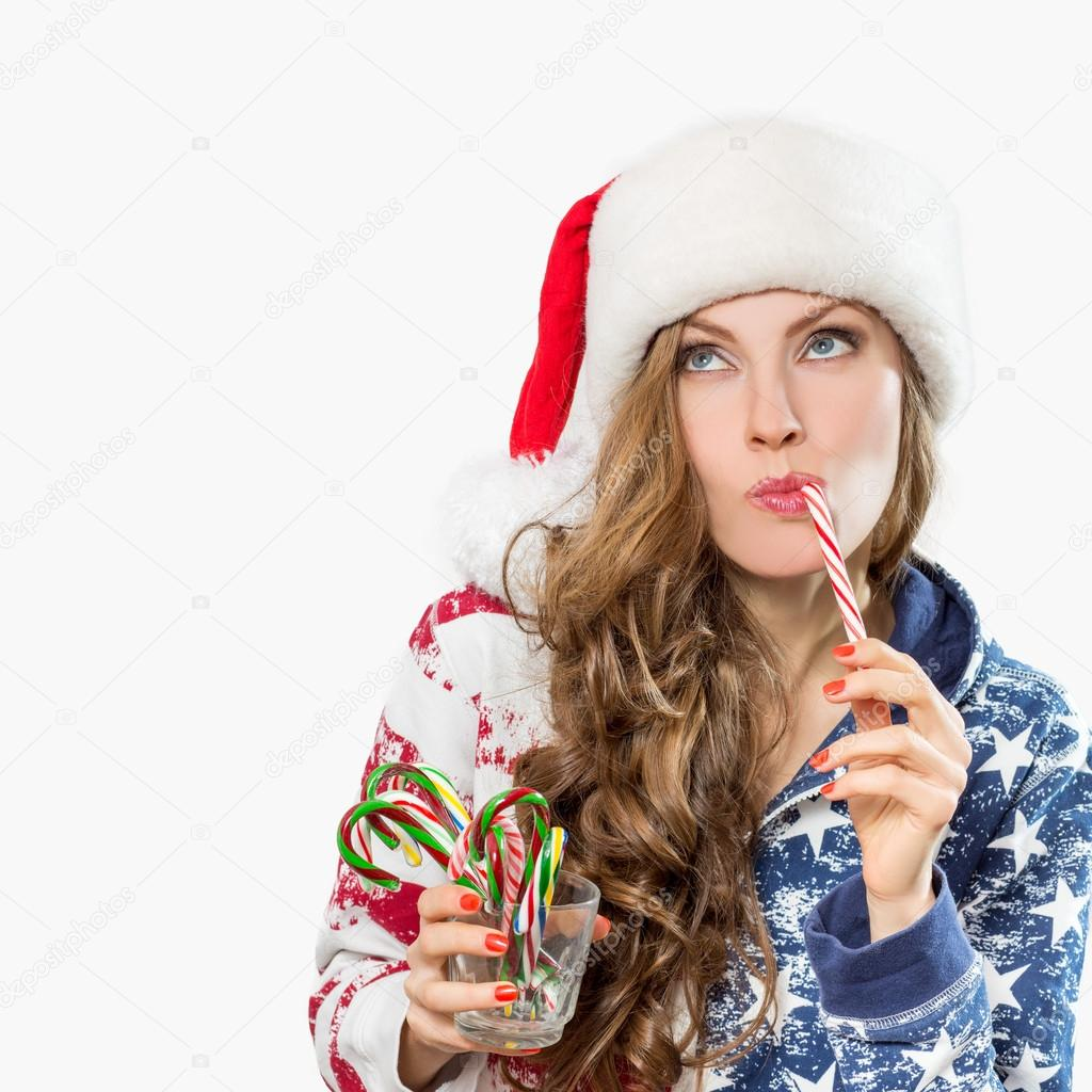 Christmas surprised winter woman