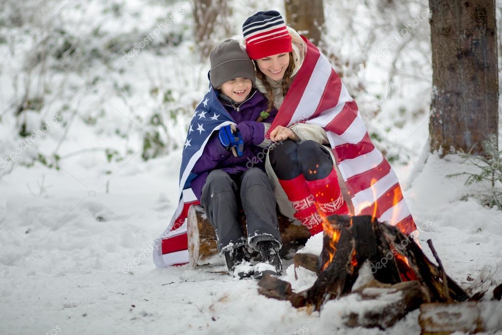 American winter family