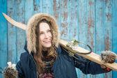 Fotografie Ski-Frau über Vintage blau