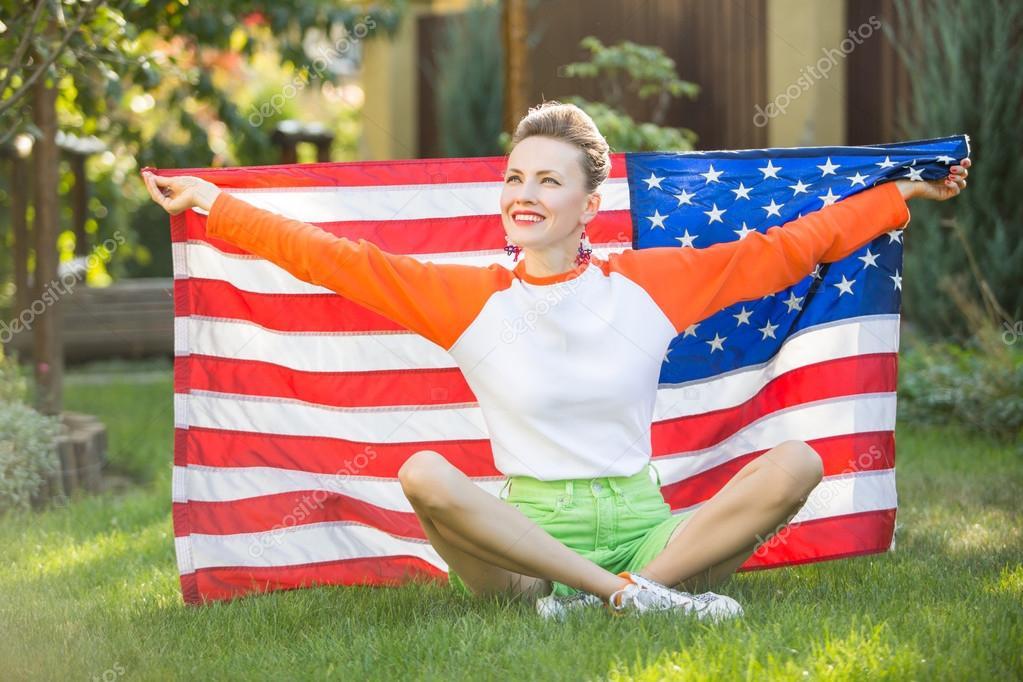 Woman with national usa flag