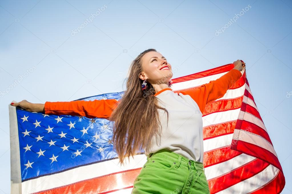 Woman with usa flag