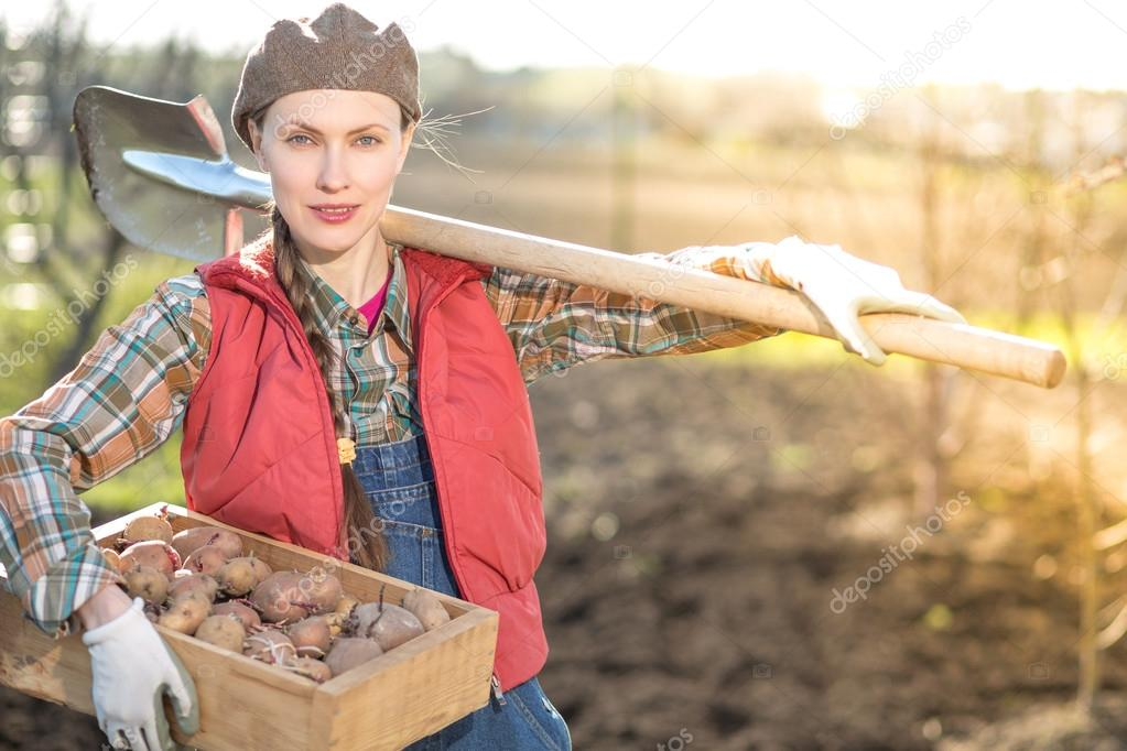 Female farmer working in garden