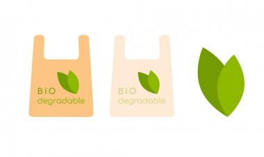 Biodegradable package. Logo sign emblem signal ecology concept. Vector illustration icon