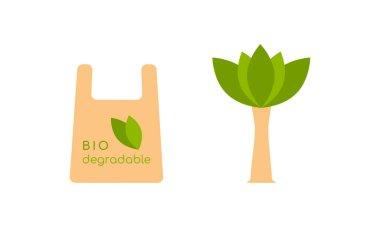 Biodegradable package. Logo sign emblem signal ecology concept. Vector illustration icon
