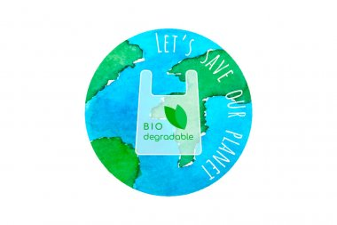 Biodegradable package, planet earth watercolor, Save our planet, ecology concept. Vector illustration icon