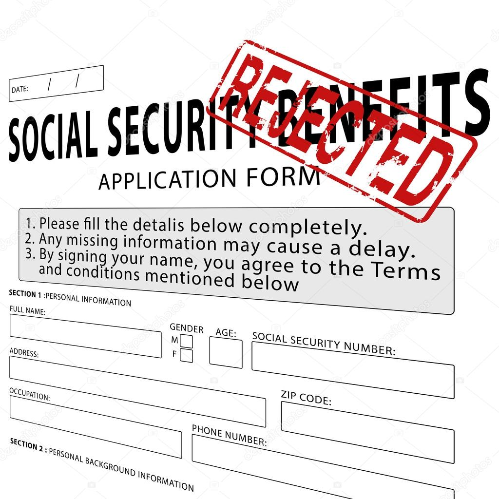 Social security application form with red rejected rubber stamp