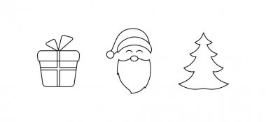 Vector drawing of a set of Christmas symbols of Santa Claus face, gift box and Christmas tree with lines on a light background. icon