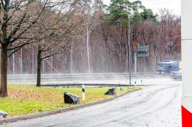 Highway driving in rain