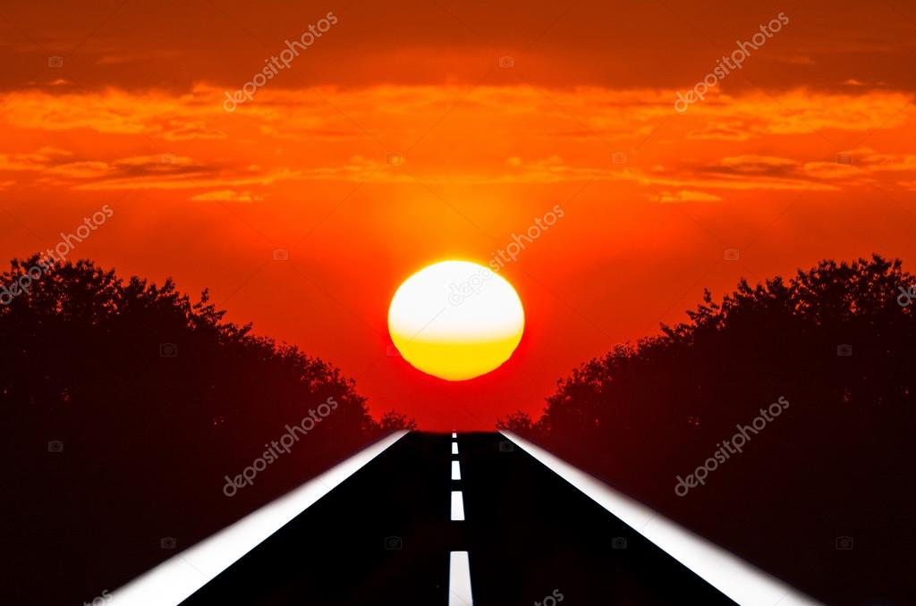 Roads into the sunset.