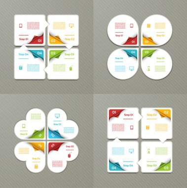 Collection of Infographic Templates for Business. Four steps cycling diagrams. Vector Illustration.