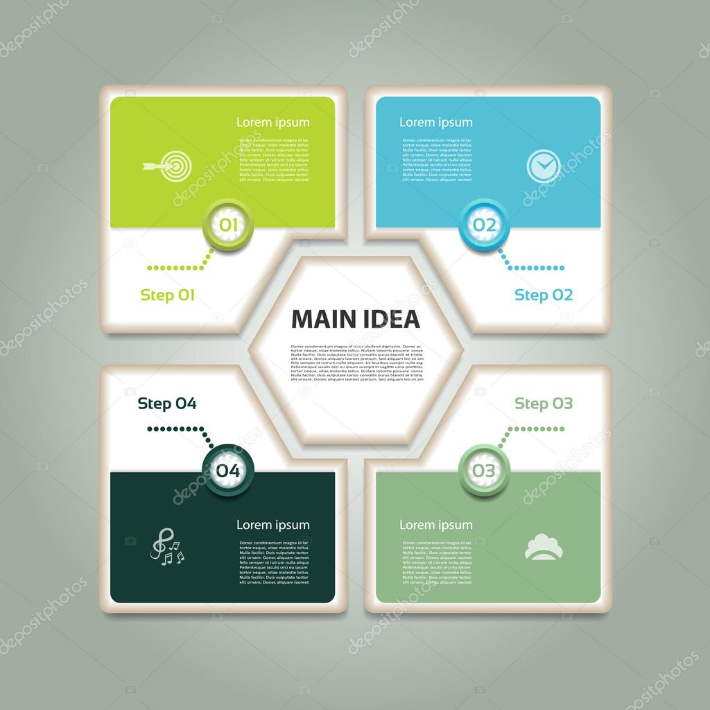 Cyclic diagram with four steps and icons. Infographic vector background. eps 10