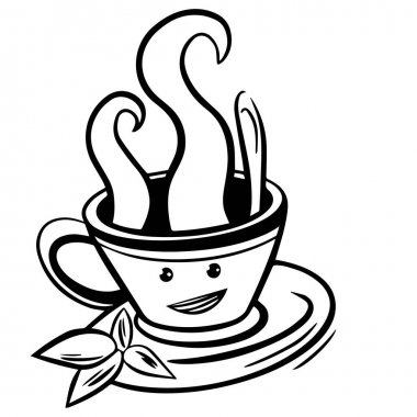 Vector cute cartoon cup of tea or coffee. Line sketch illustration. Logo, print for design cafe menu and more. Isolated on white background icon