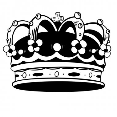 Crown King Vector hand drawn illustration on white isolated background. Crown line silhouette. icon