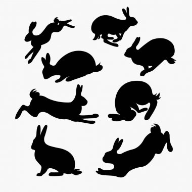 Vector bunny or rabbit silhouette set. illustration of bunny isolated on white background icon